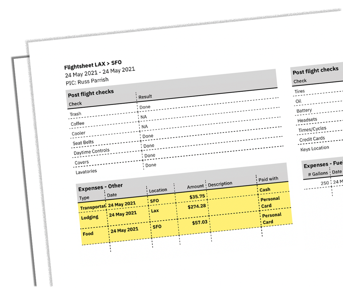 Flightsheet Report with Highlighted Expenses